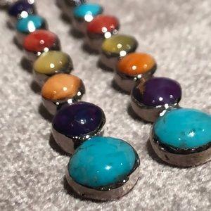 Sterling Silver Multi-Gemstone Earrings NWOTS